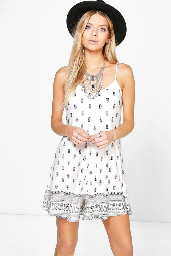 Emma Border Print Swing Playsuit