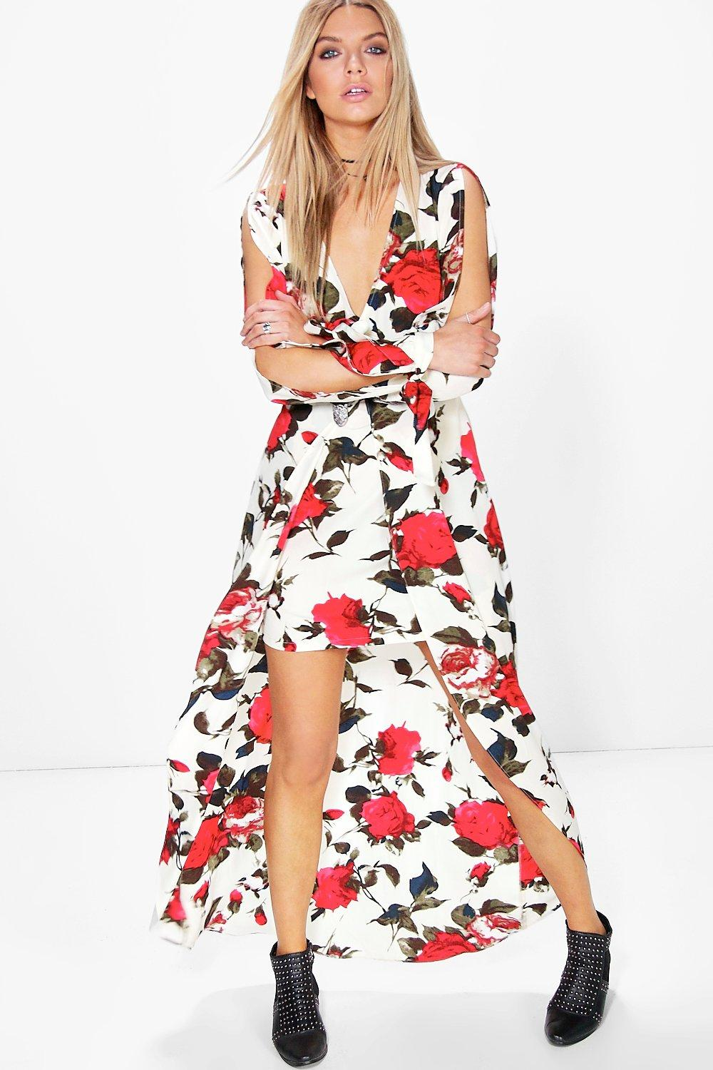 Amie Wrap Floral Woven Maxi Dress