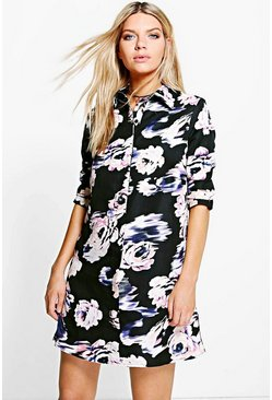 Megan Blured Floral Print Shirt Dress