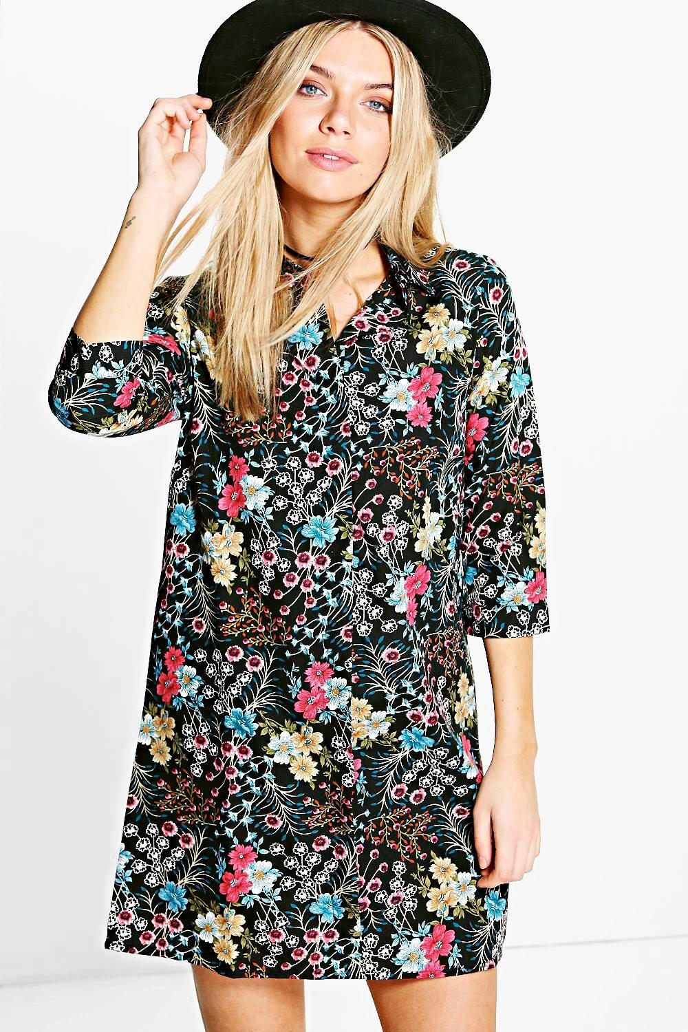 Madelline Cluster Floral Shirt Dress