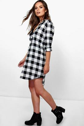Leni Monochrome Check Shirt Dress