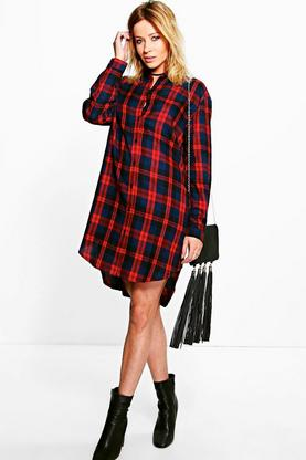 Ellisa Checked Dip Back Shirt Dress