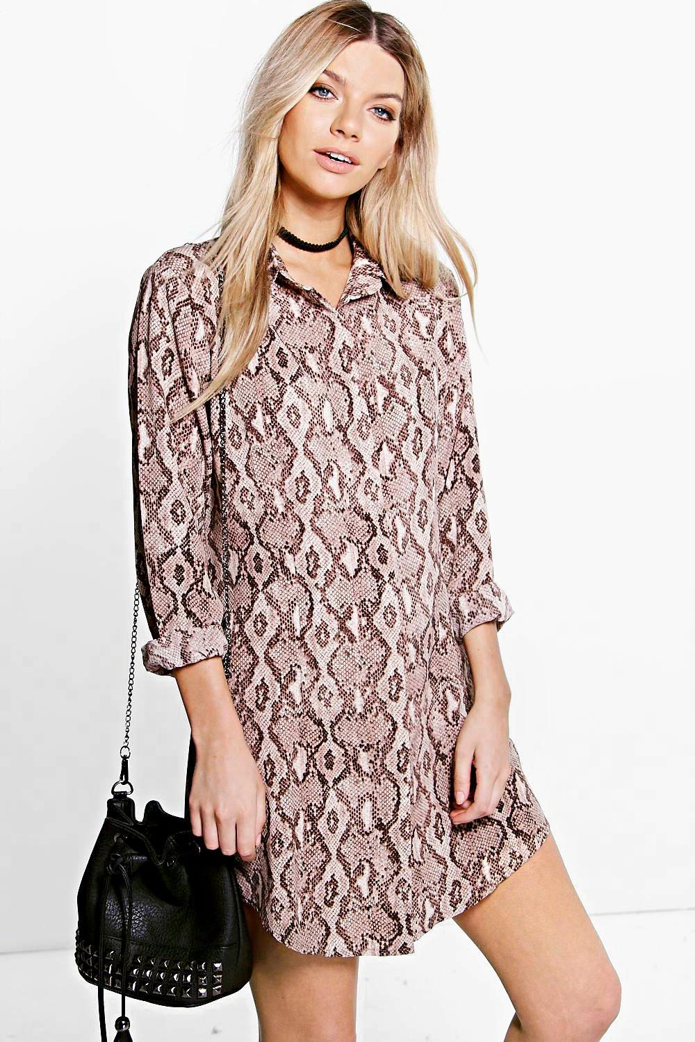 Stassy Snake Print Shirt Dress