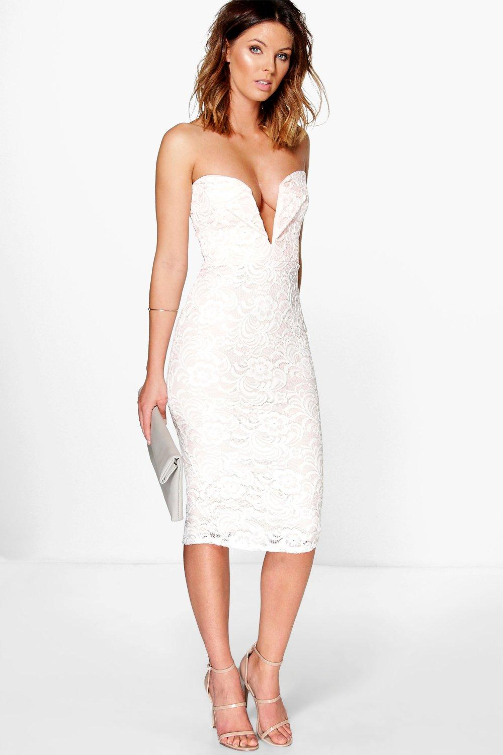 Aimee Deep V Bar Lace Bandeau Midi Dress