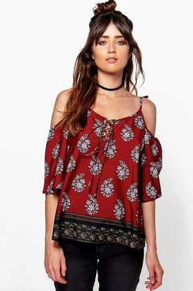 Imogen Border Paisley Open Shoulder Top