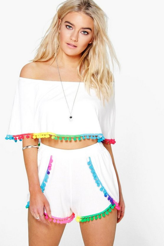 Multi Colour Pom Pom Crop & Shorts Co-Ord Set