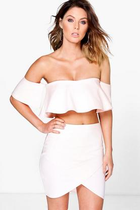 Alinn Off The Shoulder Top & Mini Skirt Co-Ord Set