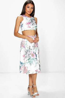 Vio Floral Print Crop & Full Midi Skirt Co-Ord Set