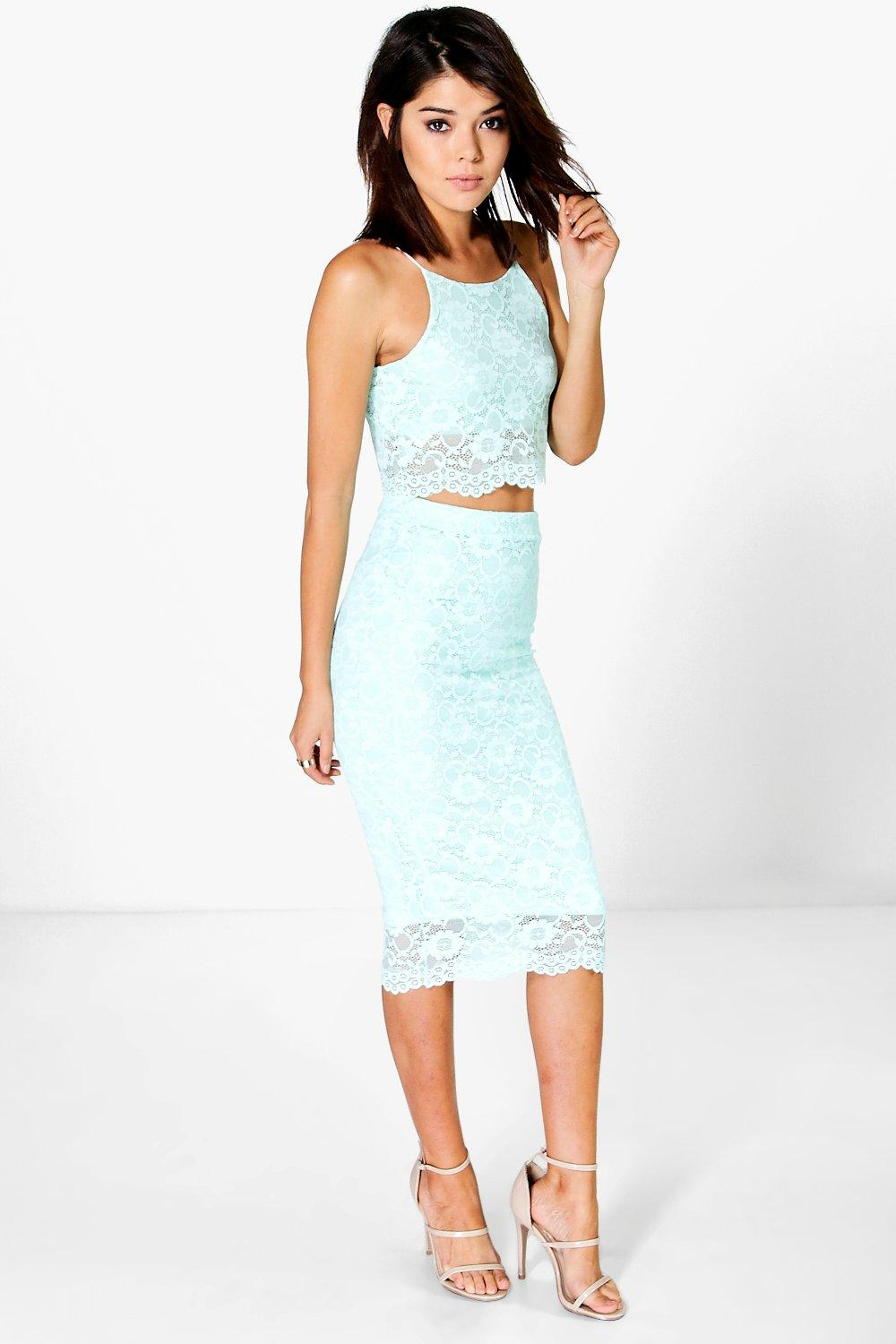 Dana Corded Lace Crop & Midi Skirt Co-Ord Set