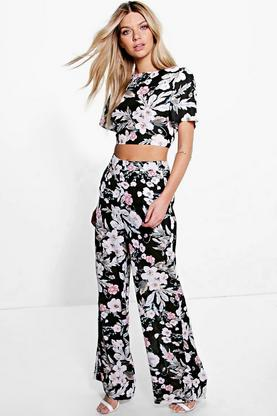 Boutique Ana Floral Top & Wide Leg Trouser Co-Ord Set
