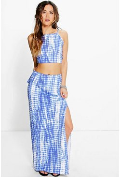 Mia Tie Dye Back Top & Maxi Skirt Co-Ord Set