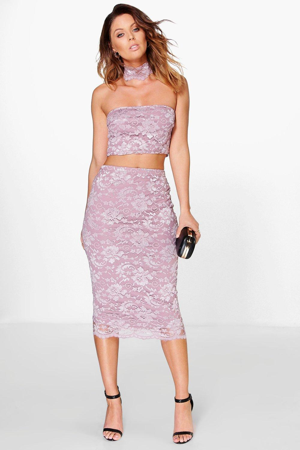 Lace Neck Band & Midi Skirt Co-Ord Set mauve