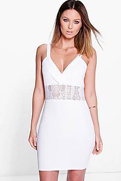 Hana Textured Eyelash Lace Insert Bodycon Dress