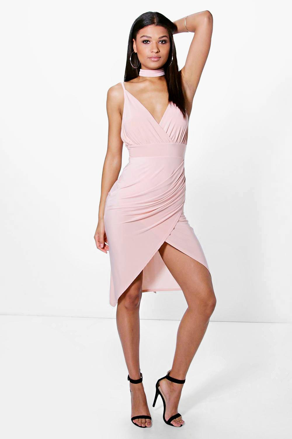 Slinky Wrap Tie Detail Midi Dress  blush