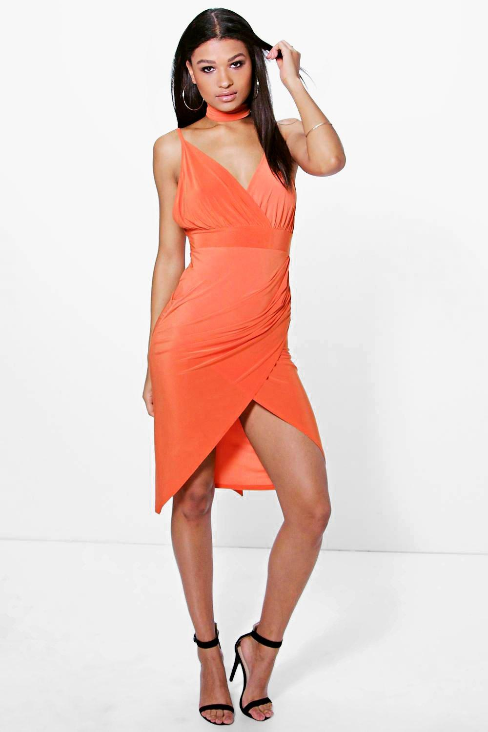Slinky Wrap Tie Detail Midi Dress  orange