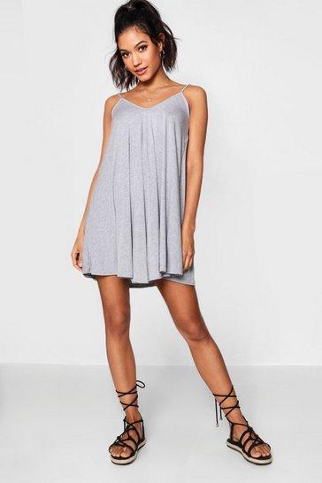Grey marl Basic V Neck Swing Dress