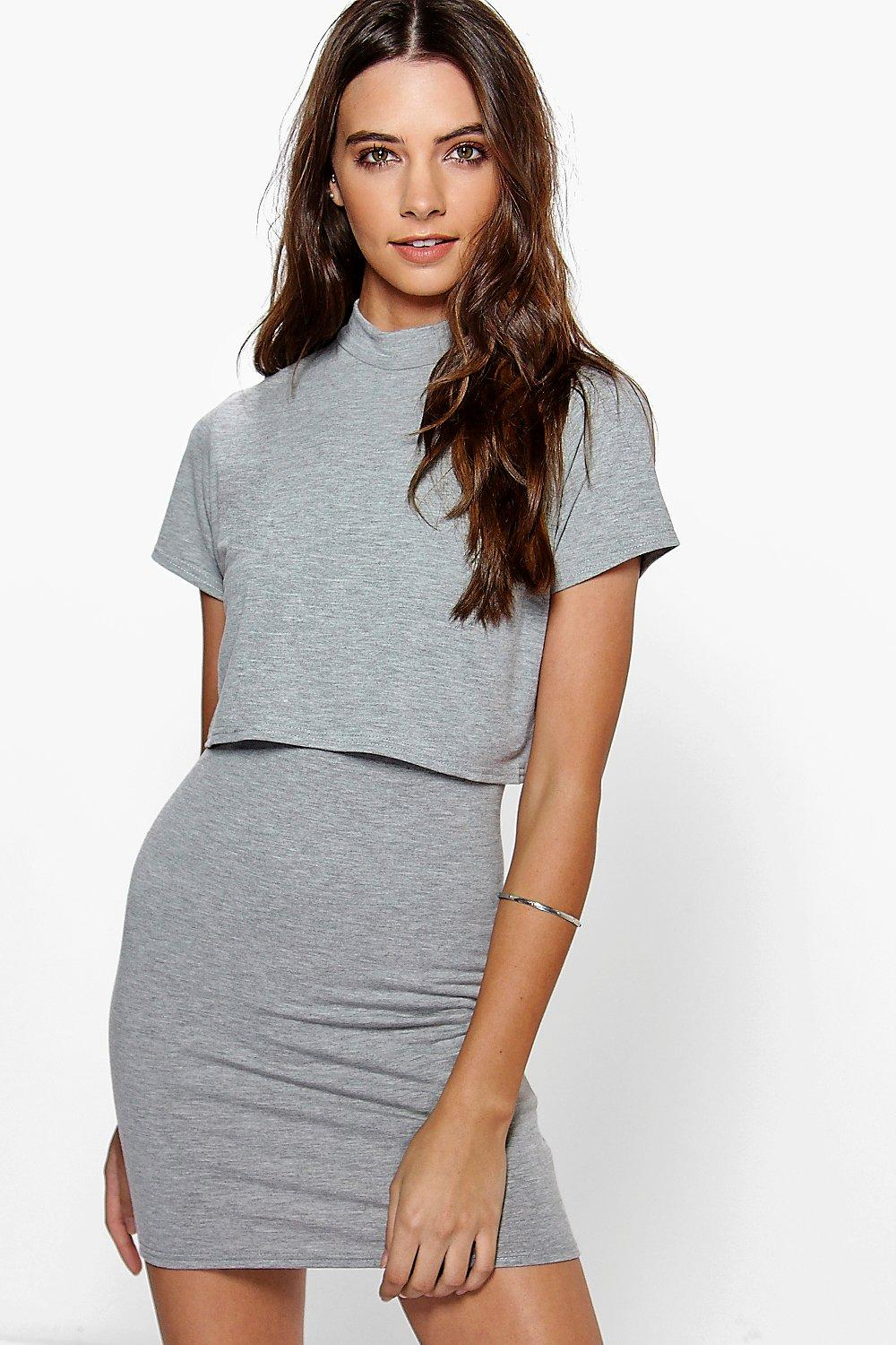 Dani Basic High Neck Cap Sleeve Bodycon Dress