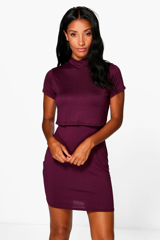 Basic High Neck Cap Sleeve Bodycon Dress - merlot