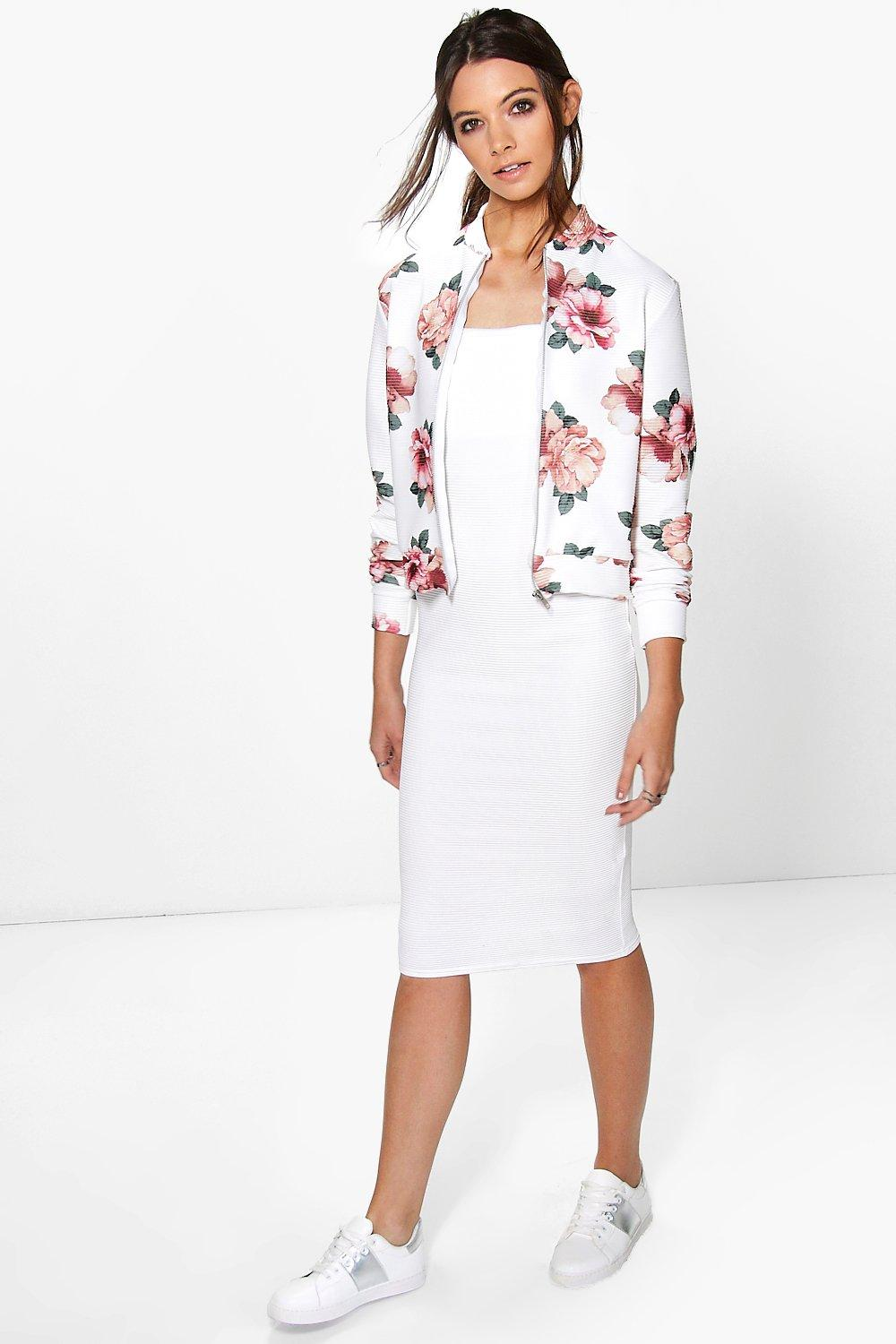 Evron Ribbed Floral Dress & Bomber Co-Ord Set