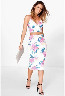 Tammi Printed Bralet & Midi Skirt Co-Ord Set