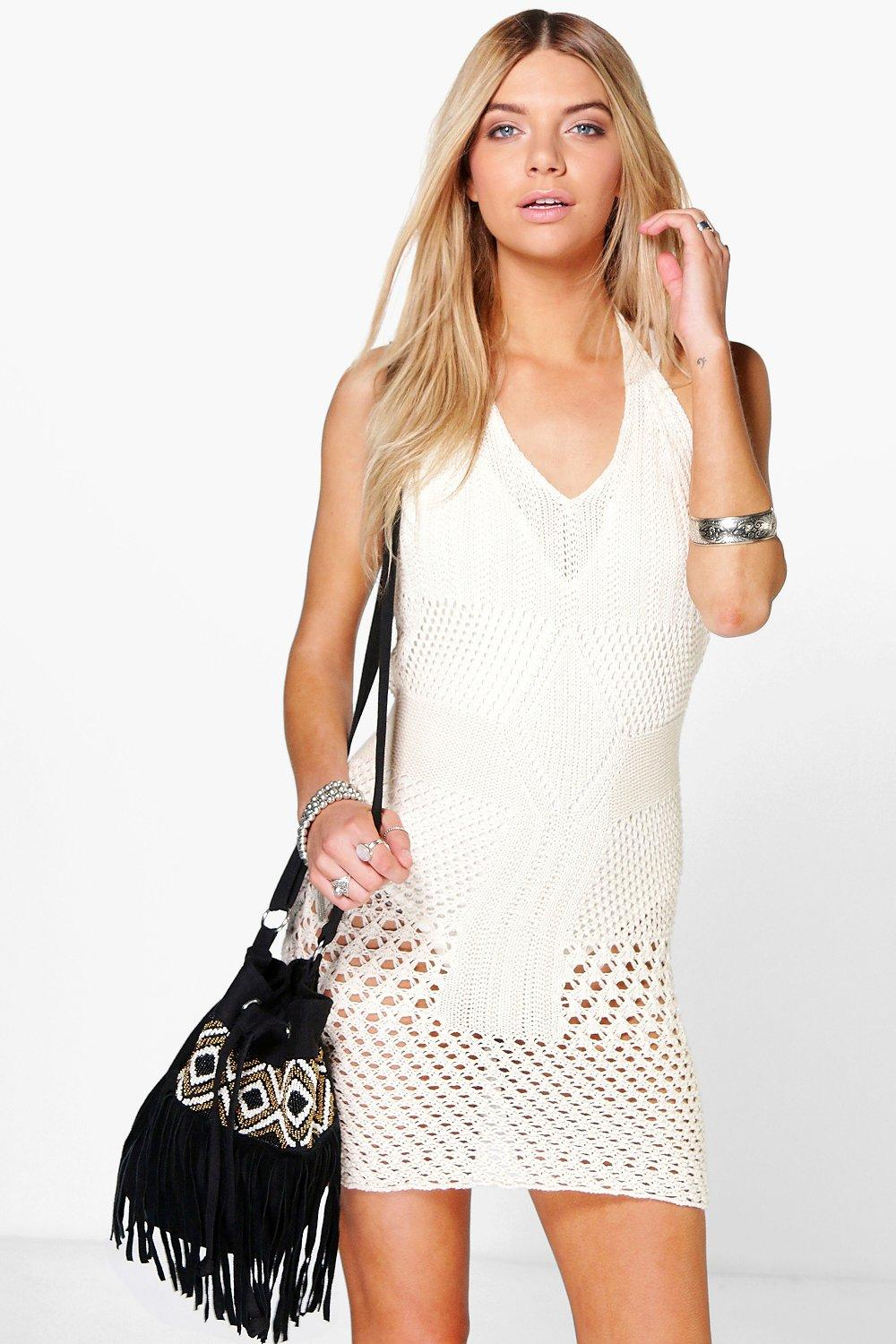 Lola Halterneck Crochet Knit Mini Dress