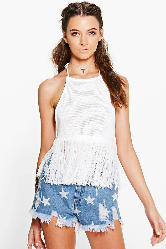 Zoe Fringed Tie Back Knitted Halterneck
