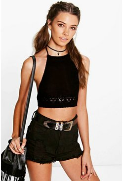 Eva Crochet Trim Tie Back Knitted Halter Top