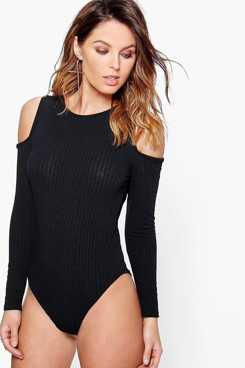 Erin Cold Shoulder Rib Knit Bodysuit