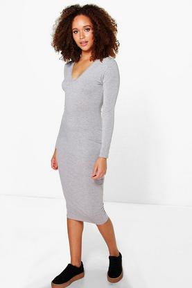 Gracie Basic V Neck Long Sleeve Midi Dress