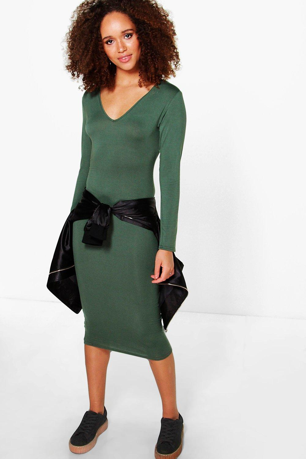 Jordyn Basic V Neck Long Sleeve Midi Dress
