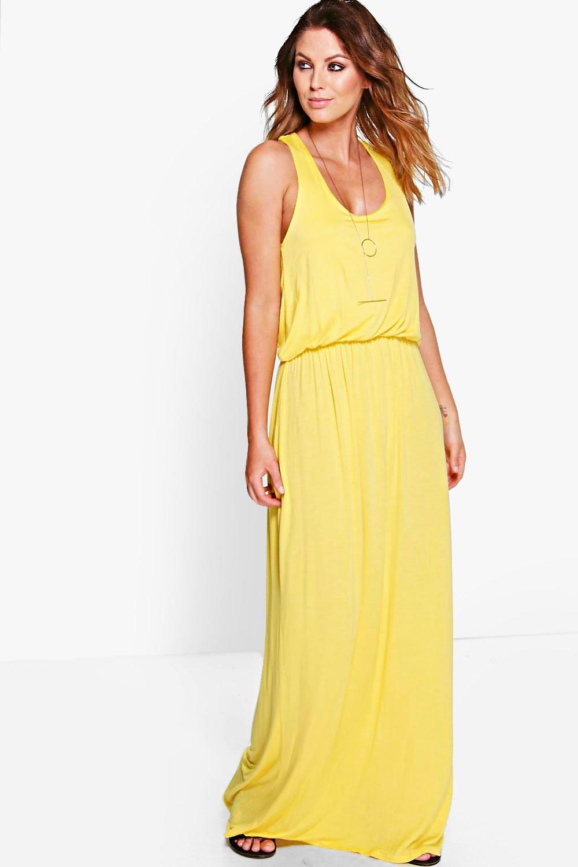 Basic Racer Back Maxi Dress  yellow