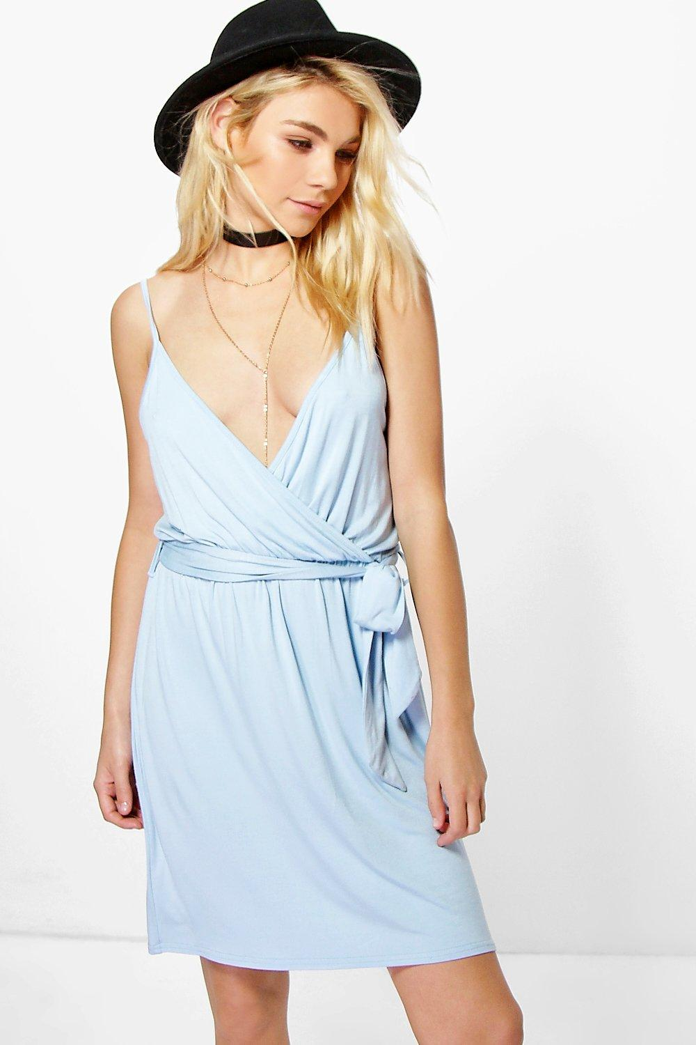 Belted Wrap Strappy Dress  blue