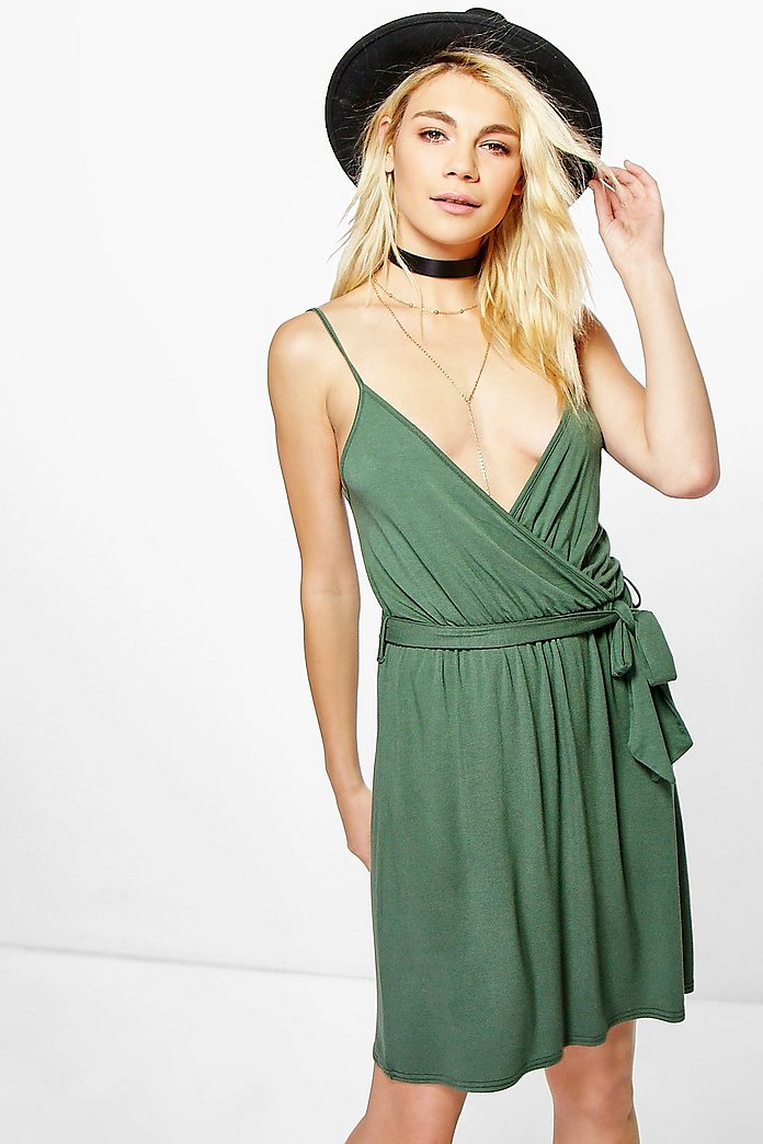 Emma Belted Wrap Strappy Dress