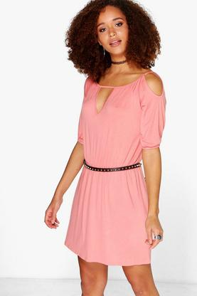 Molly Cut Out Cold Shoulder Skater Wrap Dress