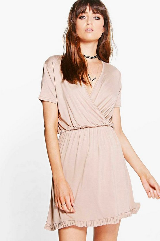 Harlow Wrap Front Ruffle Hem Skater Dress