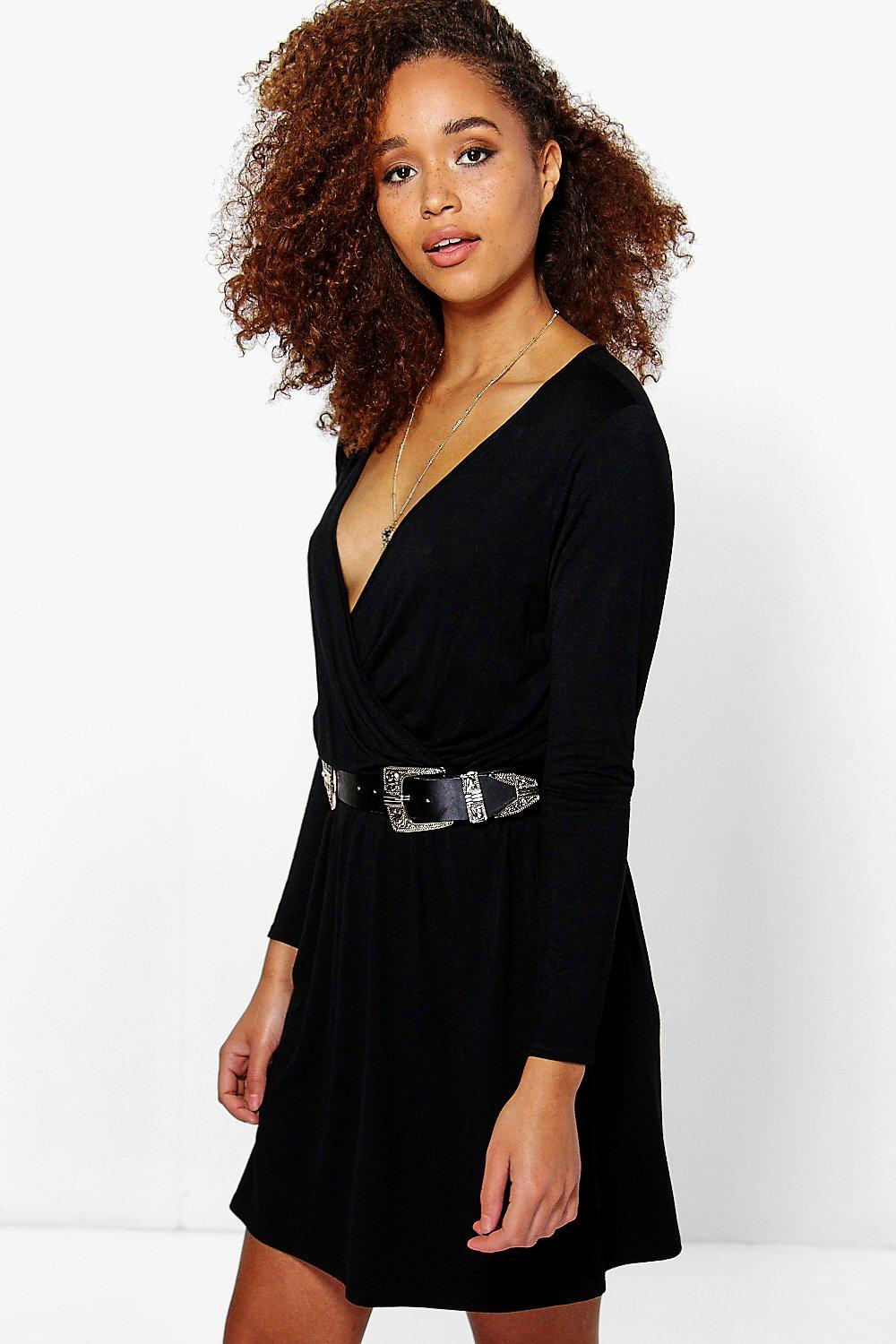 Wrap Front Long Sleeve Skater Dress black
