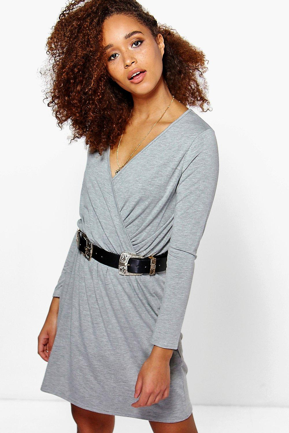 Carmel Wrap Front Long Sleeve Skater Dress