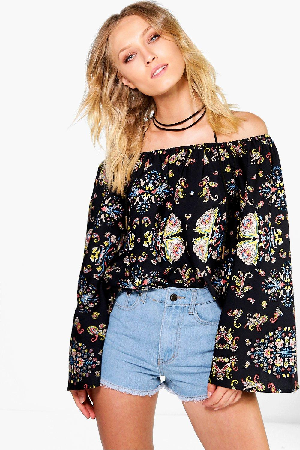 Paige Mixed Print Off The Shoulder Top