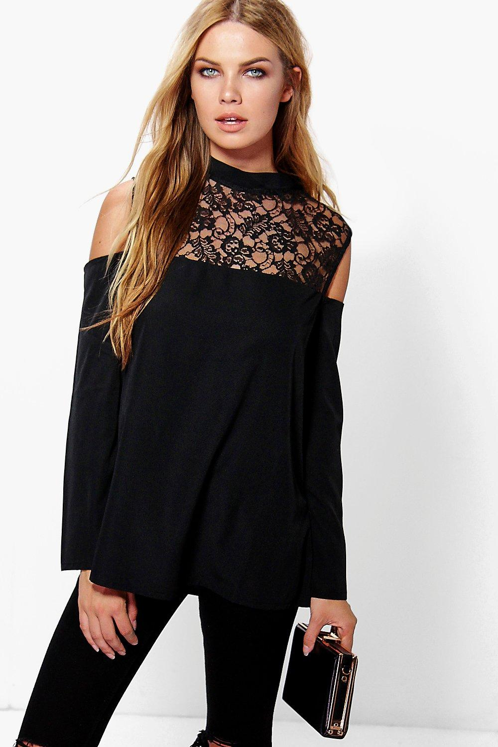 Lily Lace High Neck Cold Shoulder Top