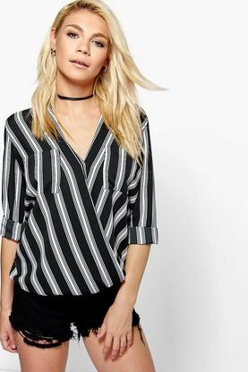 Grace Woven Stripe Double Pocket Blouse