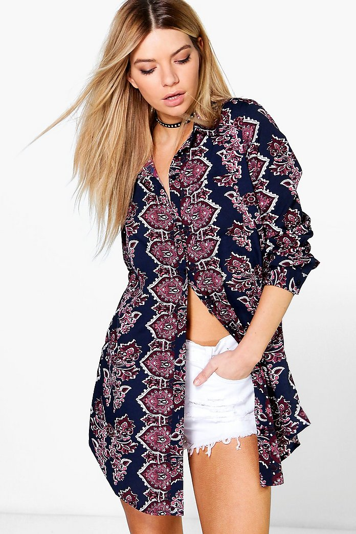 Lucy Mixed Paisley Print Longline Shirt