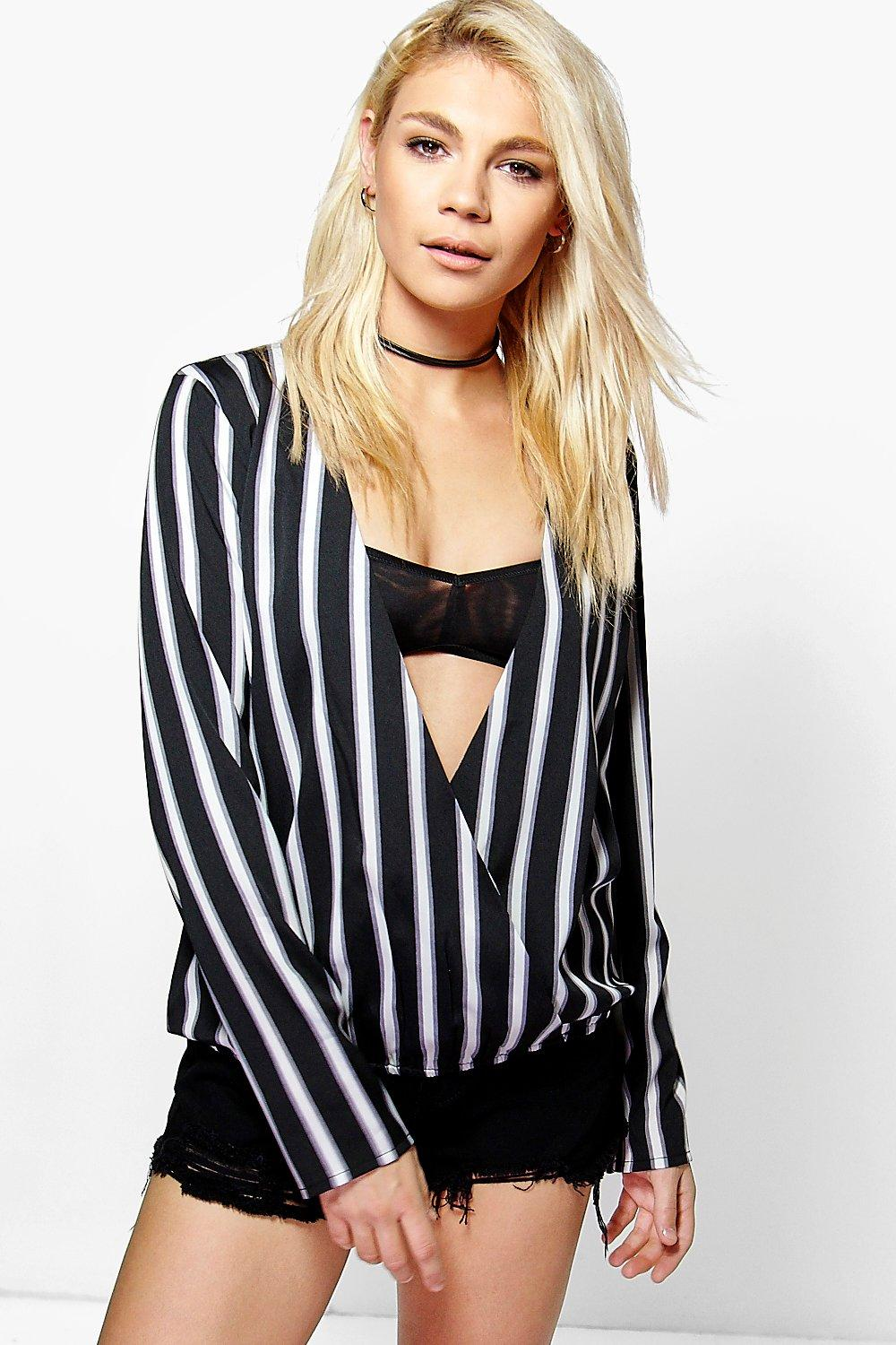 Amy Stripe Wrap Front Blouse