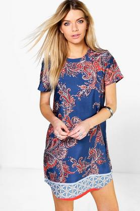 Sinead Border Print Cap Sleeve Shift Dress