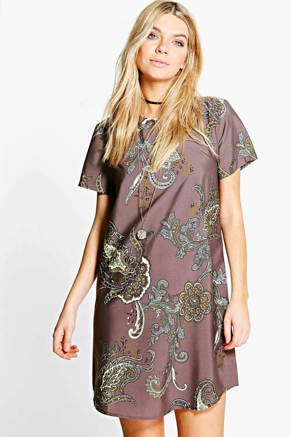 Camelia Paisley Cap Sleeve Shift Dress