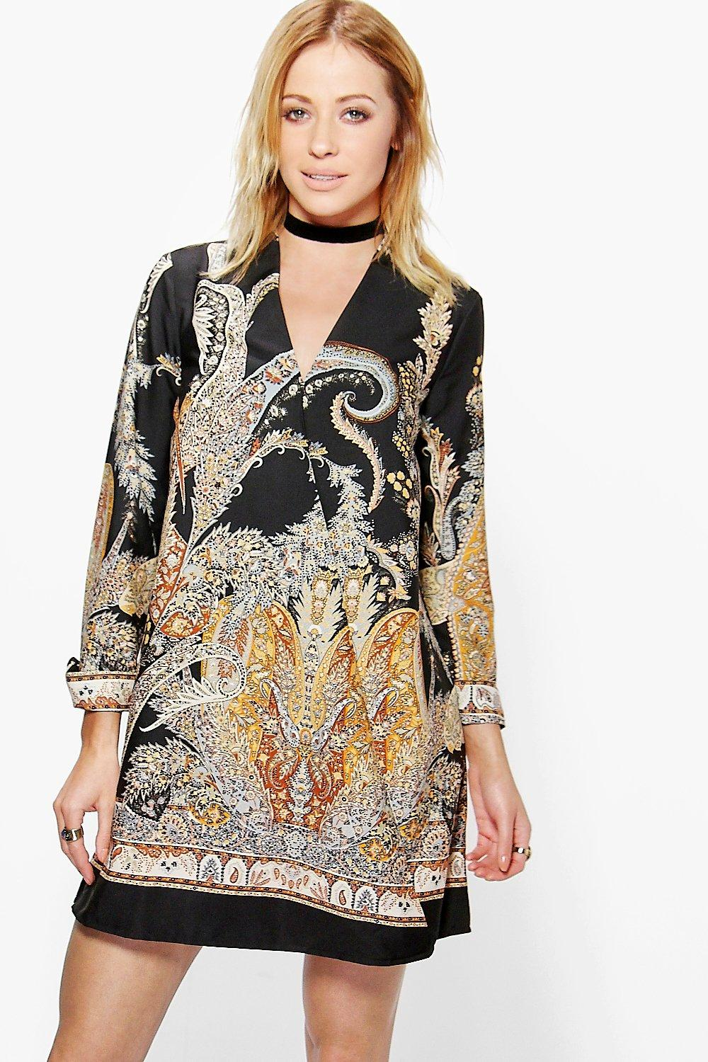 Stassie Border Paisley Wrap Shirt Dress