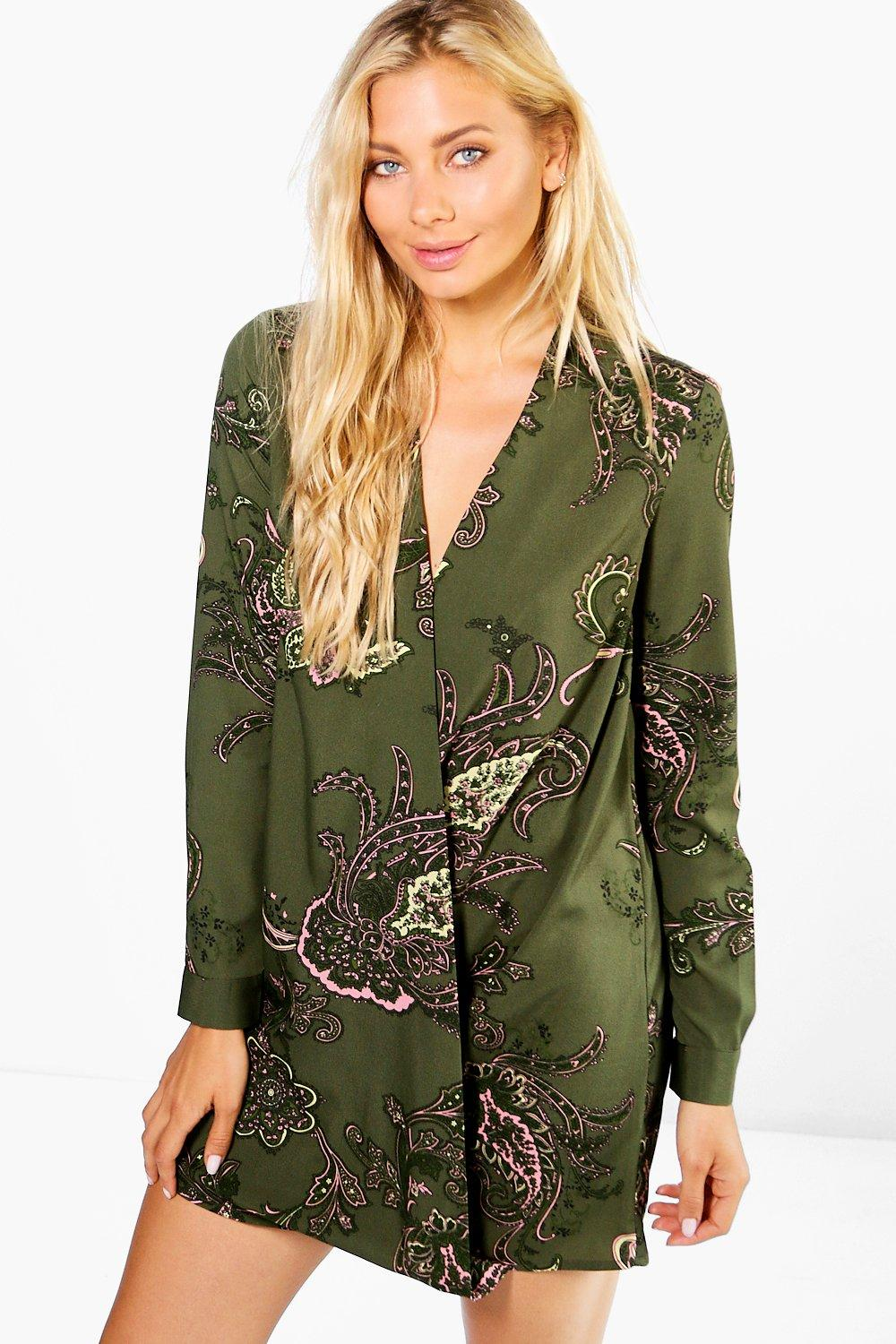 Paisley Wrap Shirt Dress  khaki