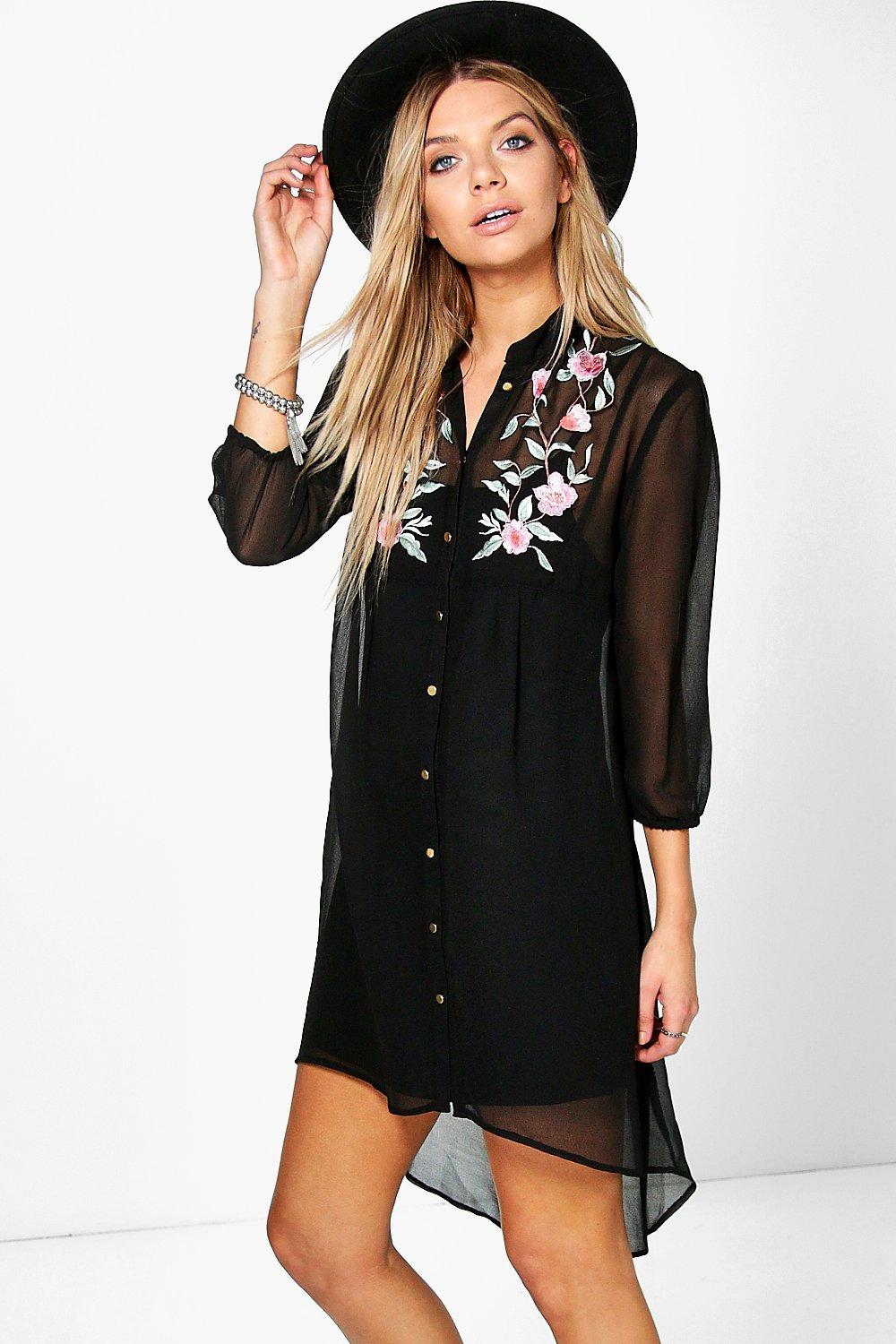 Boutique Erin Floral Embroidered Shirt Dress