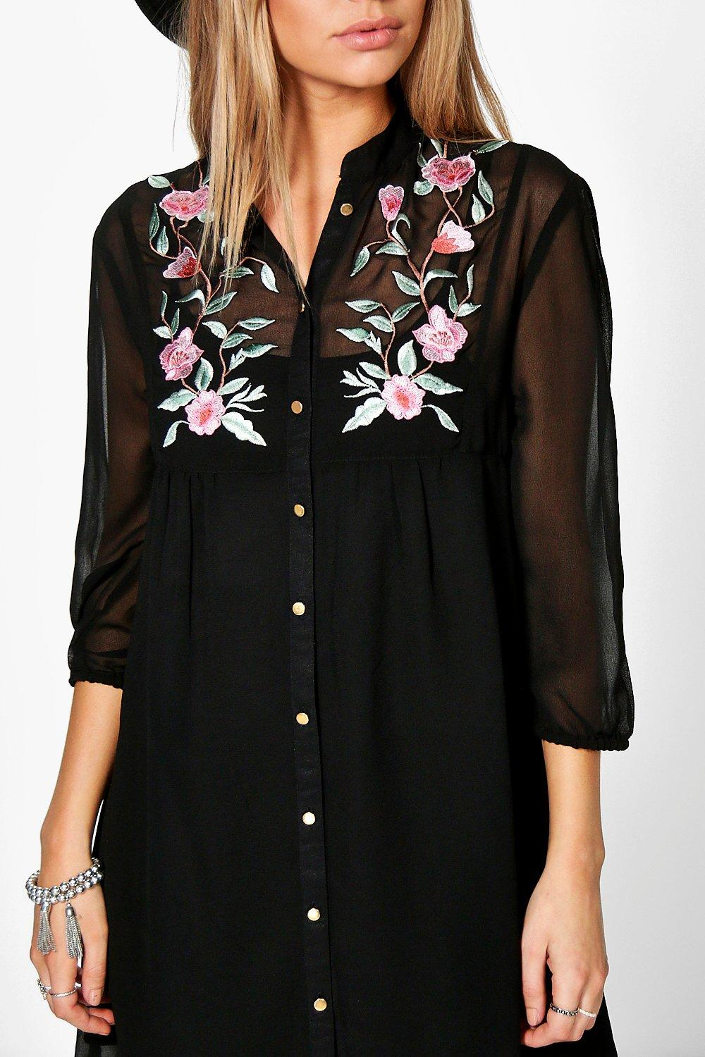 Boohoo Womens Boutique Erin Floral Embroidered Shirt Dress