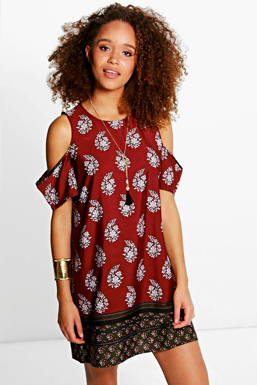 Beatrice Border Print Open Shoulder Dress
