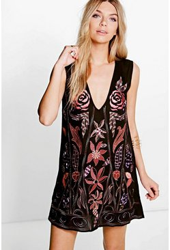 Boutique Amra Beaded & Embroidered Shift Dress